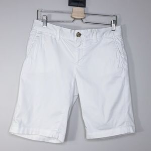 Banana Republic White Cotton Bermuda Shorts